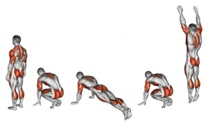 burpee with active muscles